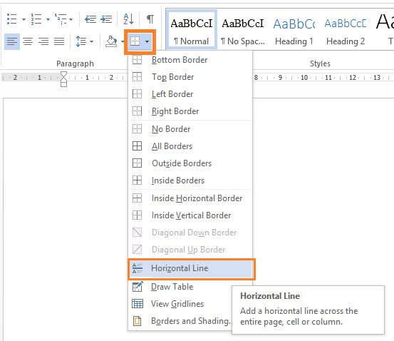 Drawing Lines With Microsoft Word : How to draw horizontal vertical line in microsoft office