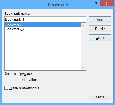Bookmark in word 2013