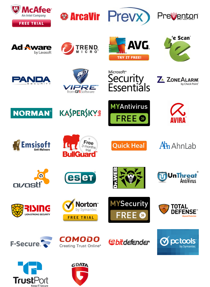Complete list of all antivirus for windows 8 7 and xp Anti virus programs